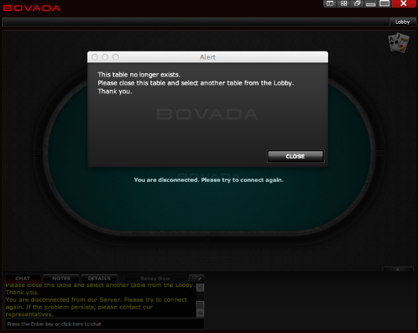 poker disconnecting